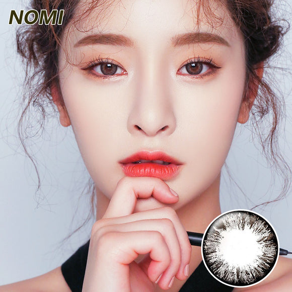 Korea NOMI mixed blood size diameter  mermaid disposable half yearly color contact lenses with degree Blooms4U Ice Flower Black