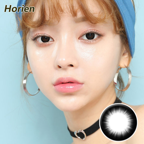 Horien Beloved eyes mixed blood size diameter disposable daily color contact lenses Charming Deep Black