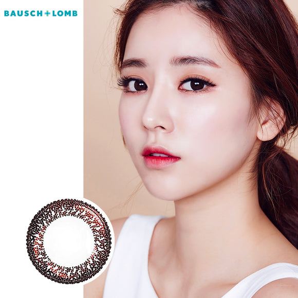 Bausch & Lomb lace bright eye size diameter disposable daily color contact lenses Amber Honey Brown