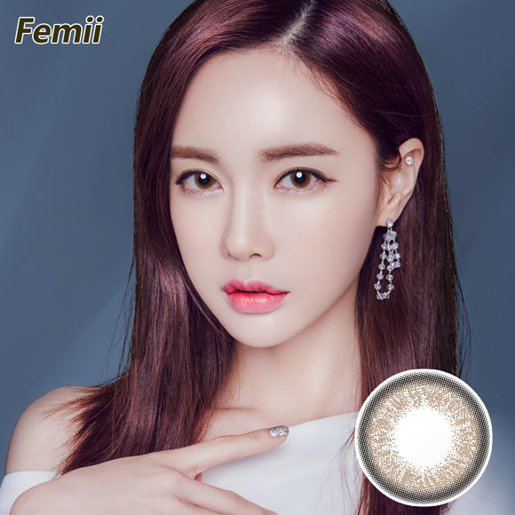 Japan Femii size diameter disposable daily color contact lenses Natural Gray Brown