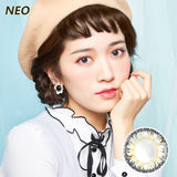 Korea imported Neo Vision mixed blood size diameter small black ring disposable yearly color contact lenses Queen Four-color Gray