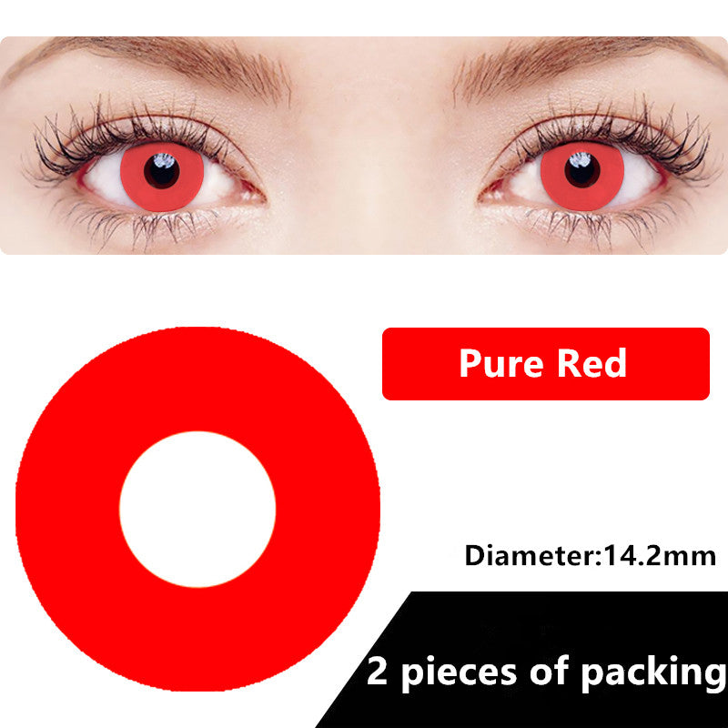 Halloween & cosplay Yearly Color Contacts Pure Red (2pcs/box)