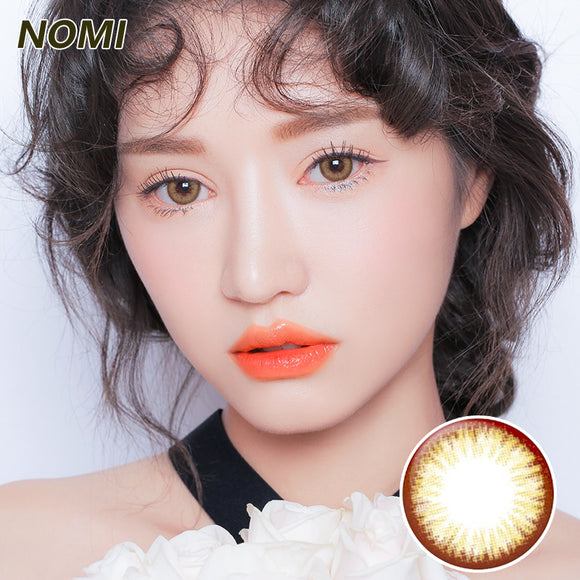 Korea NOMI mixed blood size diameter disposable yearly color contact lenses  Bloom2U Chocolate
