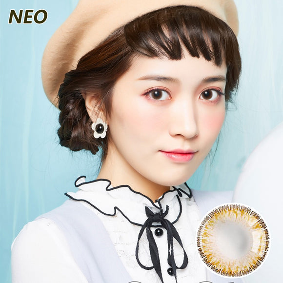 Korea imported Neo Vision mixed blood size diameter small black ring disposable yearly color contact lenses Queen Four-color Brown