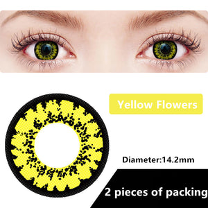 Halloween & cosplay Yearly Color Contacts Yellow flowers (2pcs/box)
