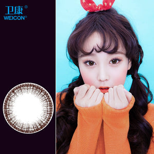 Weicon one piece size diameter mixed blood disposable half yearly color cotact lenses Eye Pan Peach Brown
