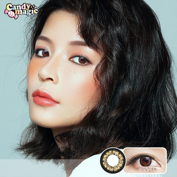 Japan girlie style  Japan candymagic disposable daily colored contact lenses 10 pcs packing King Brown