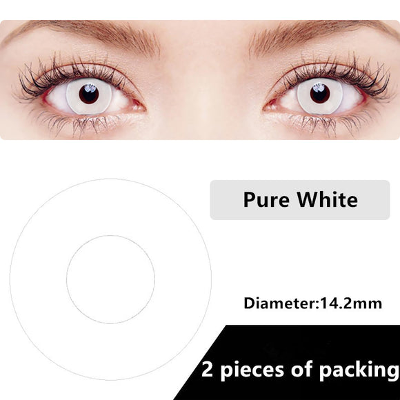 Halloween & cosplay Yearly Color Contacts pure white (2pcs/box)