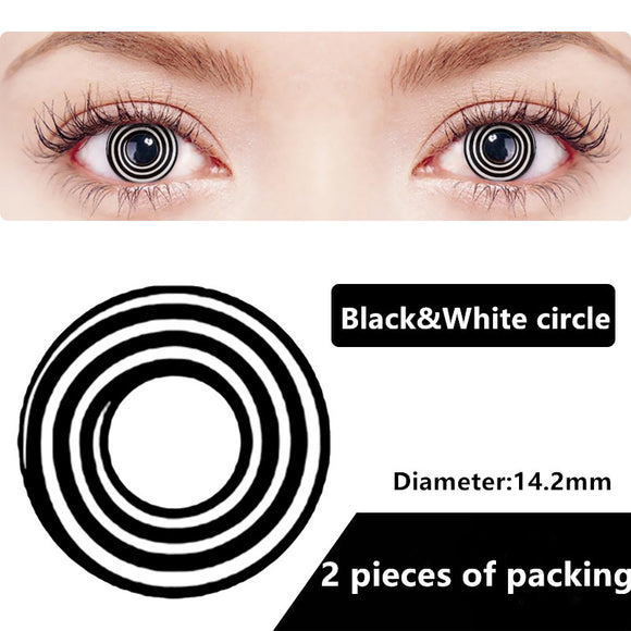 Halloween & cosplay Yearly Color Contacts Black&white circle (2pcs/box)