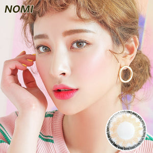 Korea NOMI mixed blood size diameter  mermaid disposable half yearly color contact lenses with degree  Gossip4U Angel Tricolor Grey