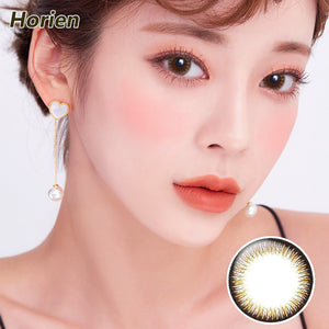 HORIEN Macarons Kiss size diameter disposable half yearly color contact lenses Macarons Lemon Clam Brown