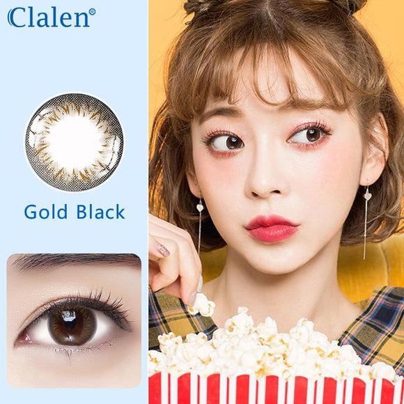Korea girl style clalen iris disposable daily colored contact lenses 30pcs Glod Black