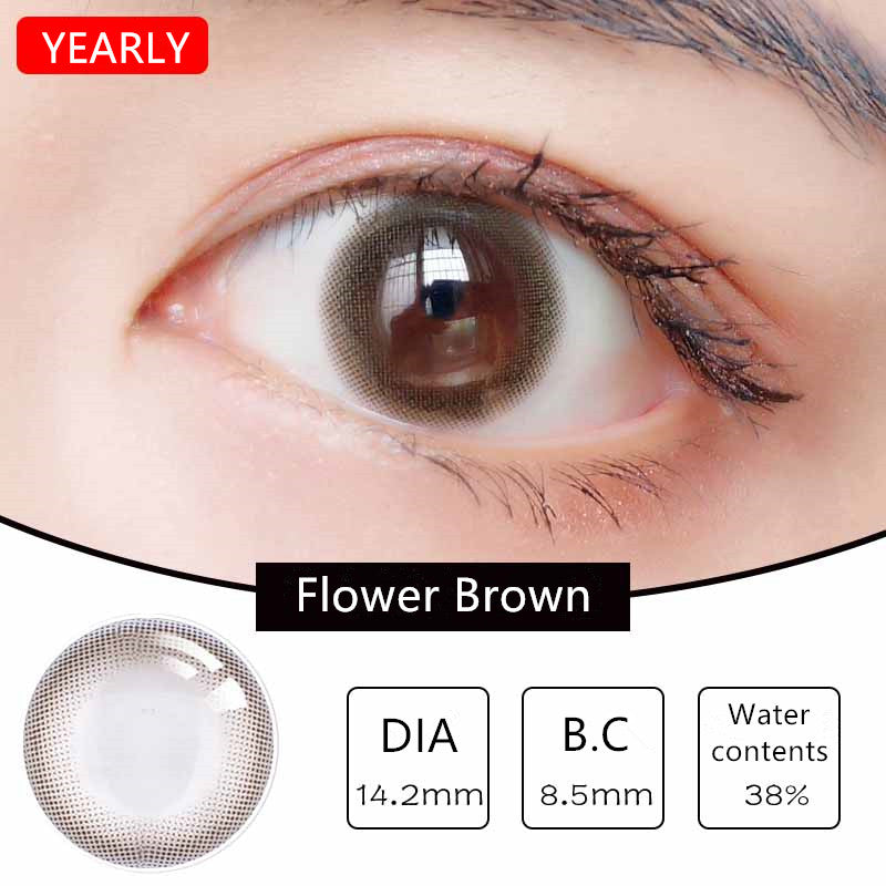 MiaoMou yearly Contact Lenses Flower Brown (2pcs/box)