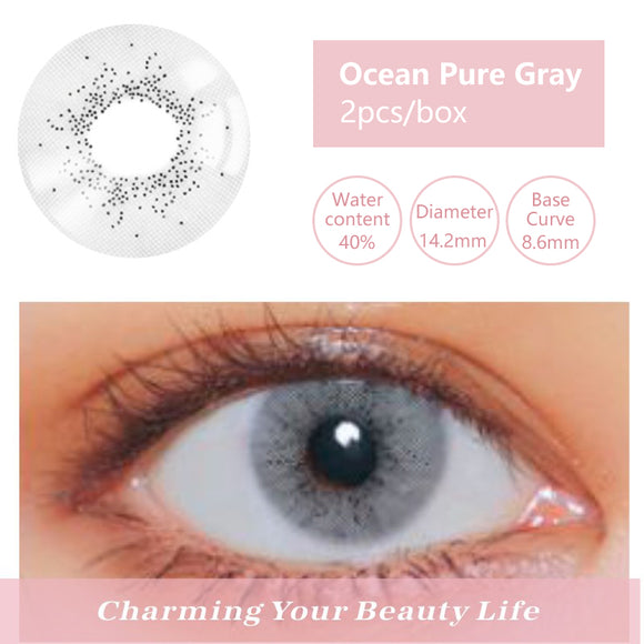 Bella Yearly Color Contacts Ocean Pure Gray (2pcs/box)