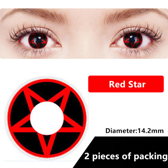 Halloween & cosplay Yearly Color Contacts Five star (2pcs/box)