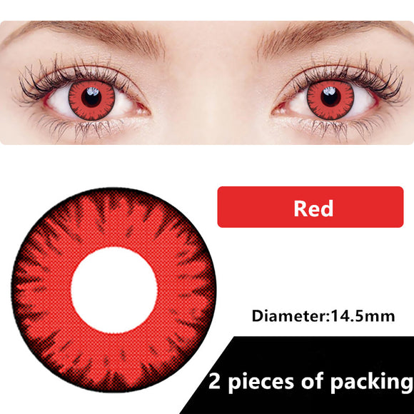 Halloween & cosplay Yearly Color Contacts Red (2pcs/box)