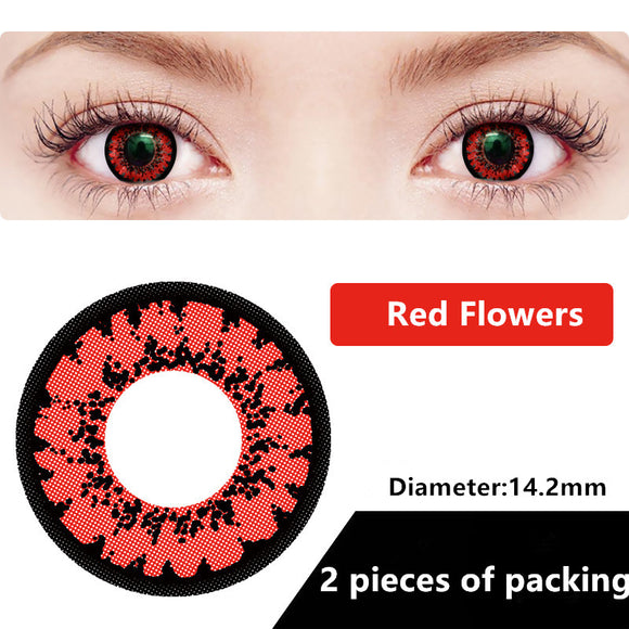 Halloween & cosplay Yearly Color Contacts Red flowers (2pcs/box)