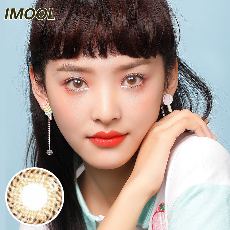 Japan brand IMOOL disposable quarterly colored contact lenses 2pcs packing Chocolate  Brown