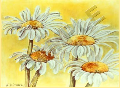 daisies on yellow