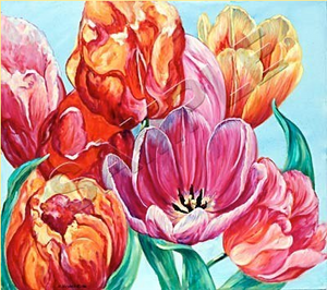 multiple tulips