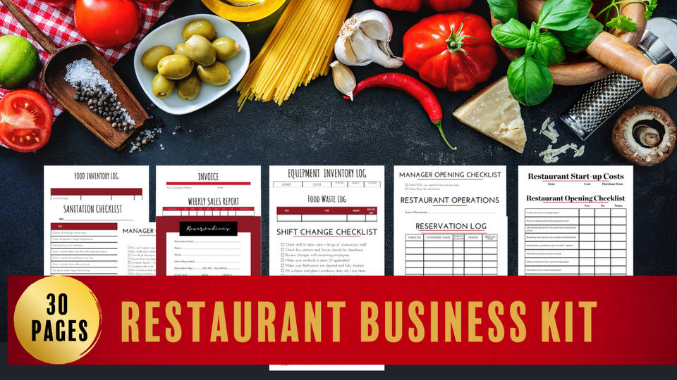 Restaurant Business Forms// Restaurant Logos/ Restaurant Business Cards// Deluxe Restaurant Business Startup Kit// Start your own Restaurant (DIGITAL DOWNLOAD)