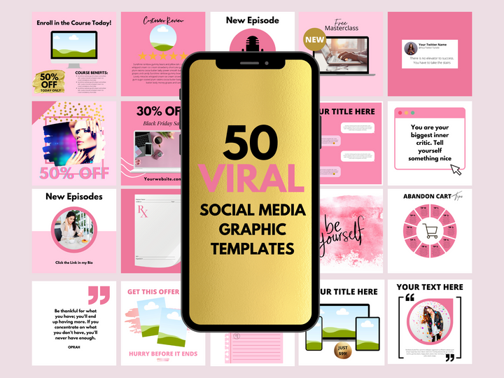 50 Viral Social Media Instagram Templates// Editable Social Media Templates//Edit with Canva// Pink Social Media Templates
