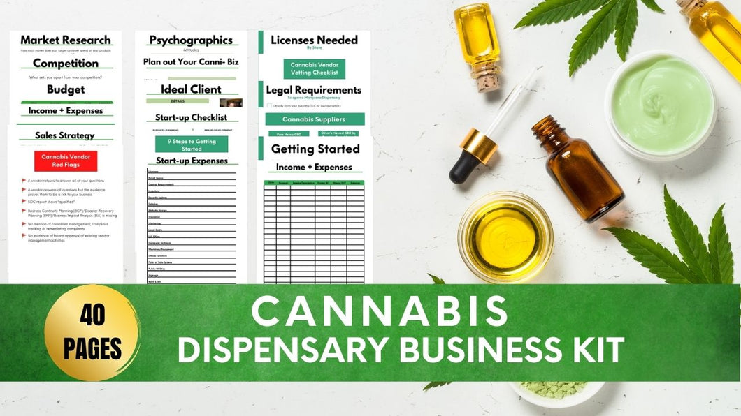 Cannabis Dispensary Business Kit// How to Open a Cannabis Dispensary// Cannabis Dispensary Resources// Cannabis Vendors// Cannabis Business
