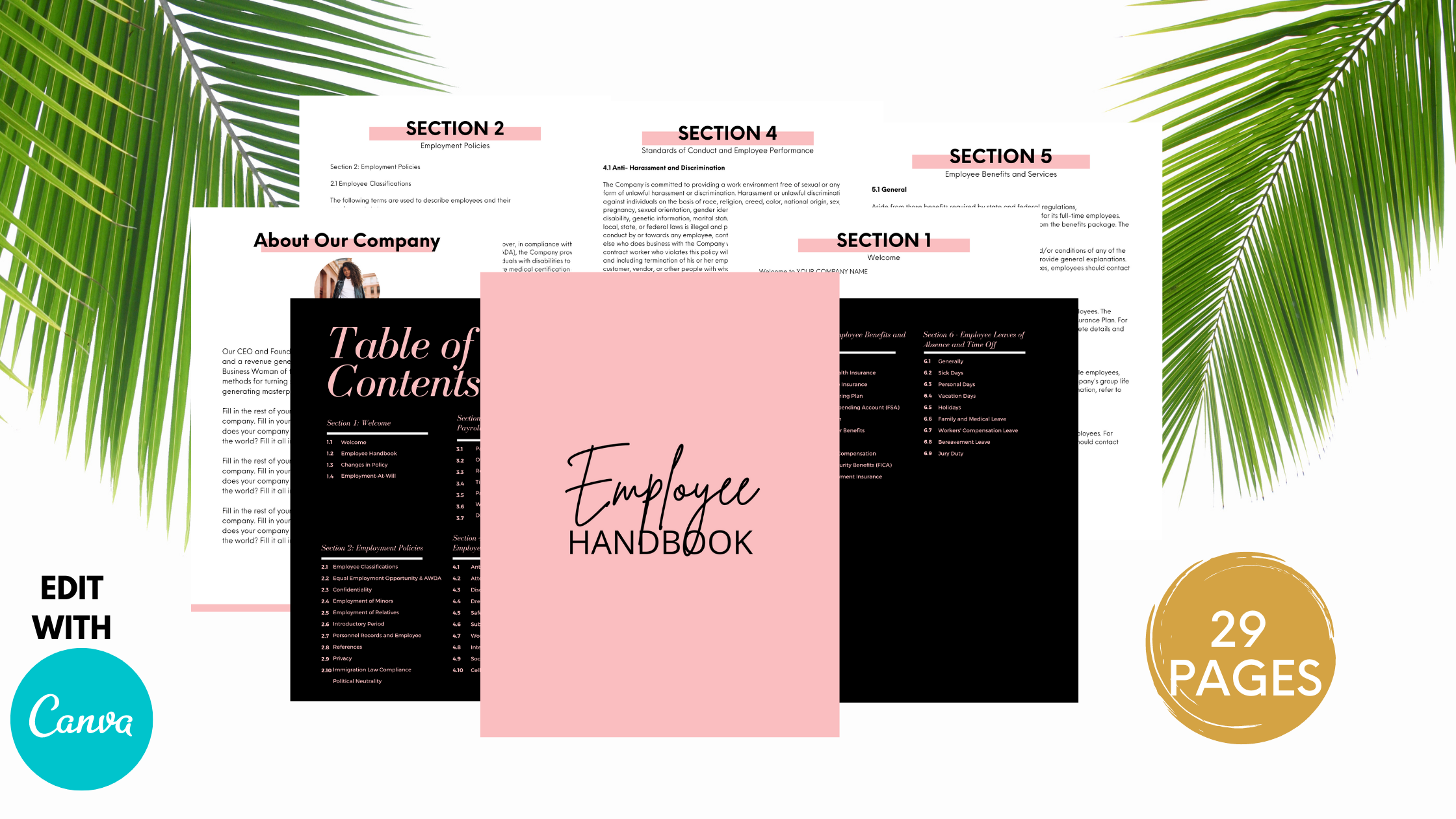 Employee Handbook// Company Employee Handbook// Editable Handbook// Employee Guide// Policies and Procedures// Edit in Canva// Printable