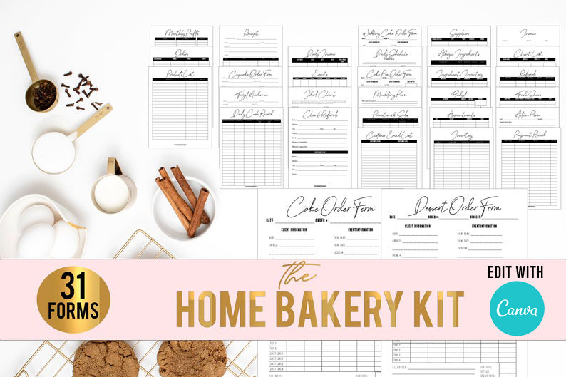 Home Bakery Kit// Cake and Bakery Business Forms// Wedding Cake Forms// Printable Home bakery forms// Cupcake Business// Bakery Business