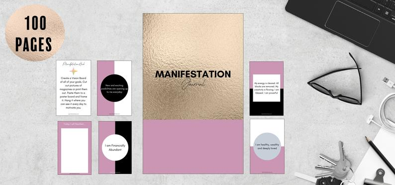 Manifestation Journal// Manifest Your Dreams// Manifesting Journal// Law of Attraction Journal// Gratitude Journal