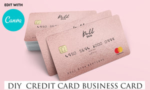 DIY Credit Card Business Cards// Rose Gold Business Cards// Credit Card Business Cards// Rose Gold Business Cards// Editable with Canva