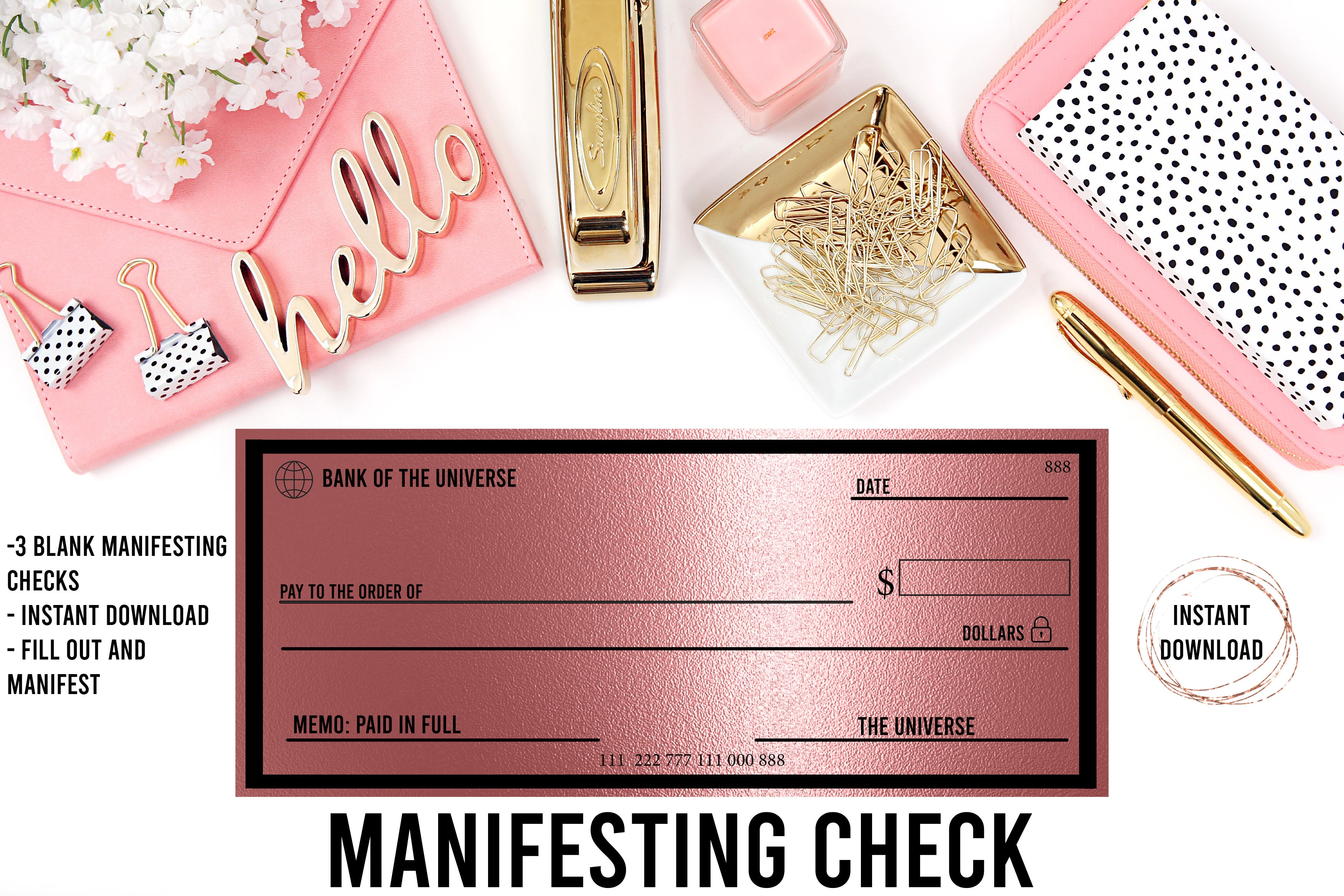 Manifesting Checks// Abundance Checks// Law of Attraction Checks// Manifest Money// Bank of the Universe// Manifestation Checks