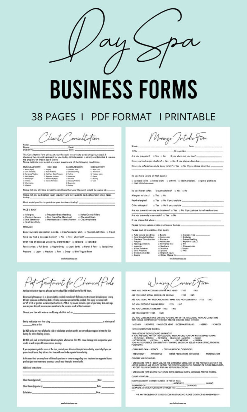 Day Spa Business Kit// Waxing Consent Form// Client Consultation Form// Client Intake Form// Massage Intake Form// Day Spa Business Forms