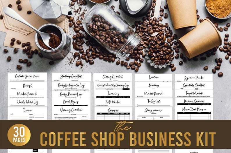 Coffee Shop Business Kit// Coffee Barista Forms// Coffee Shop Business Forms// Printable Forms// Small Business Forms// Starting a Business
