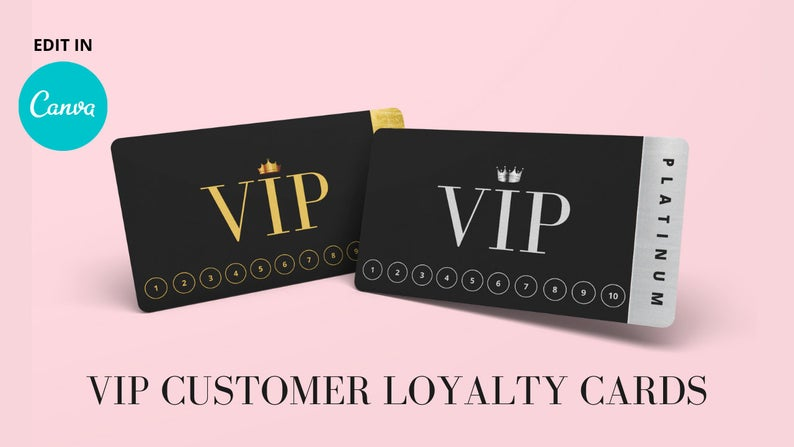 VIP Customer Loyalty Cards// Editable VIP Customer Rewards Card (DIGITAL)