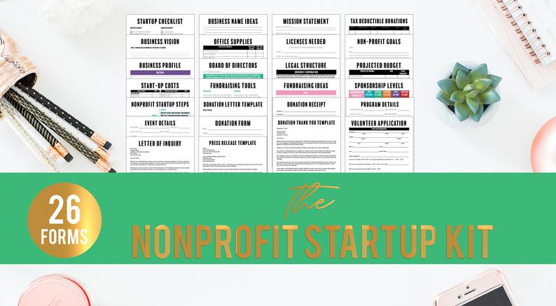 NonProfit Start Up Kit// NonProfit Business Forms// NonProfit Business Plan workbook// Small Business Forms// Nonprofit Planning Forms