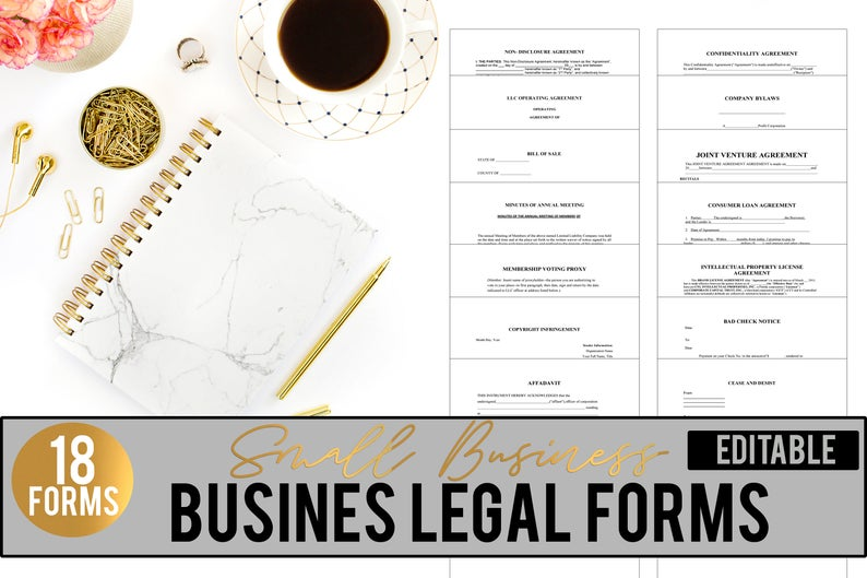 Small Business Legal Forms// Bill of Sale// Cease and Desist Letter// Legal Form Templates// Operating Agreement// Business Contracts// Form