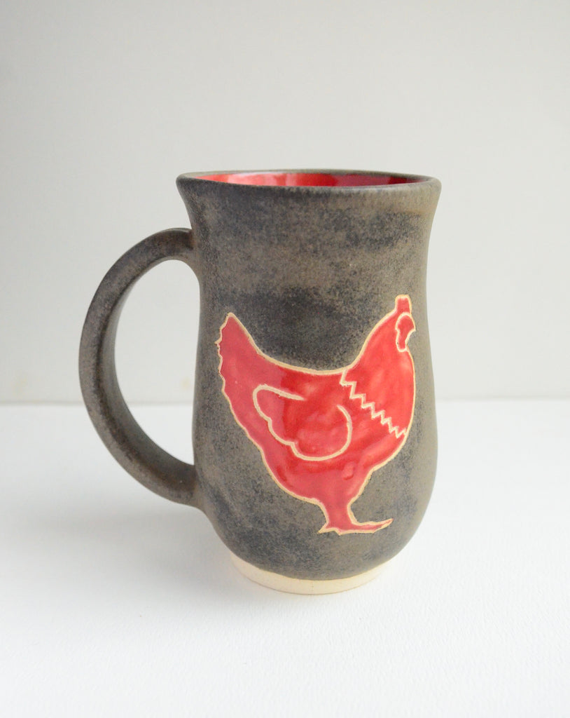 Ruby Red & Charcoal Chicken Mug