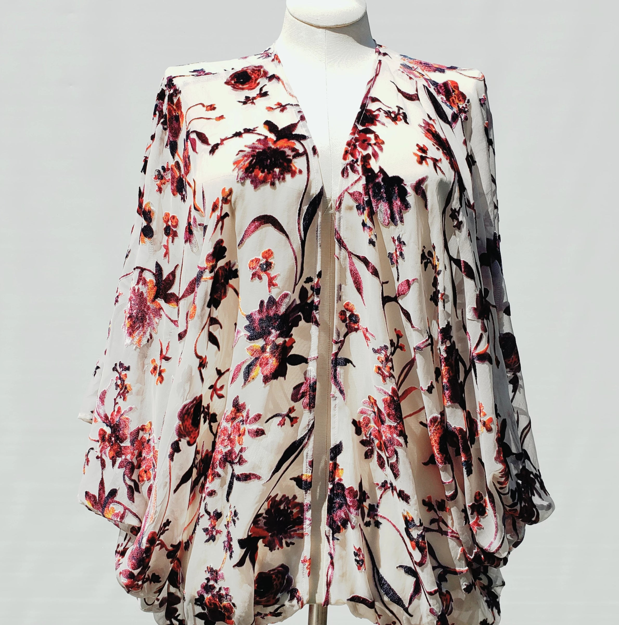 Floral Pink and Purple Burnout Velvet Cocoon Wrap Top