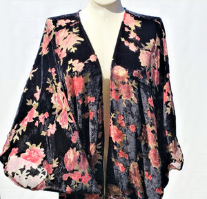 Floral Black and Red Burnout Velvet Cocoon Wrap Top