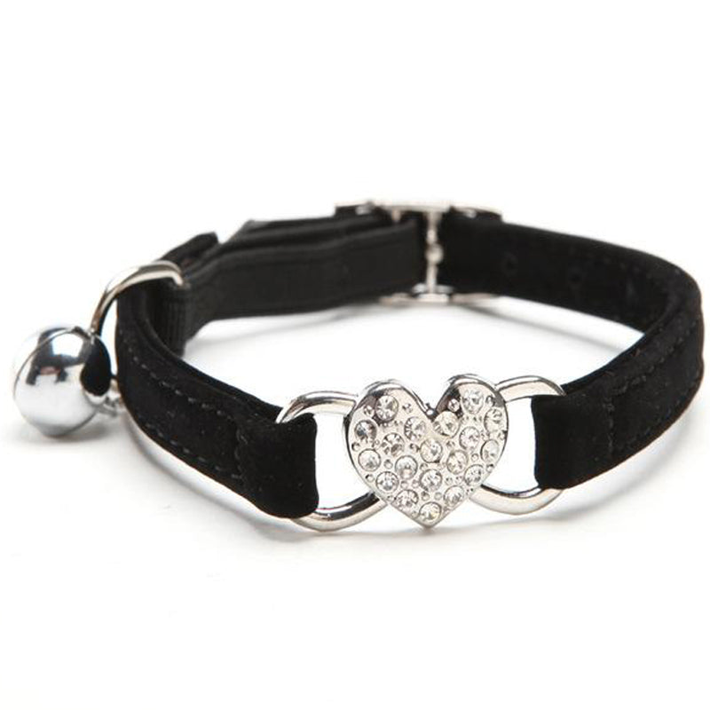 Adjustable Cat Collar with Crystal Heart Charm and Bell