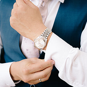 Groom wearing a watch
