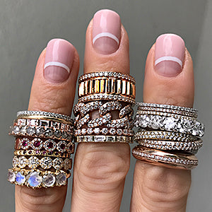 Woman wearing many rings