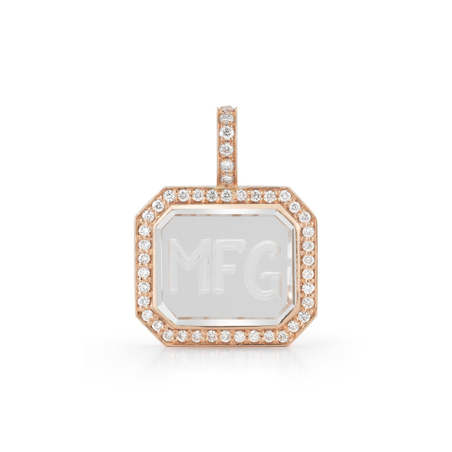 Bell Diamond Rock Crystal Pendant (Engravable)