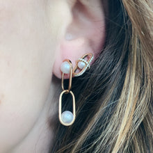 Allegory Major Pave Diamond & Pearl Geometric Cage Earrings