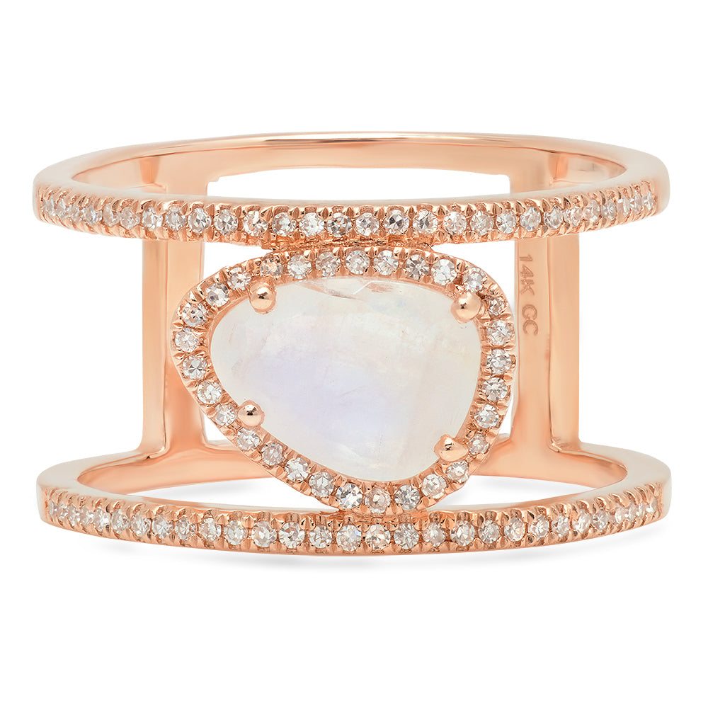 Rainbow Moonstone Double Diamond Band Ring