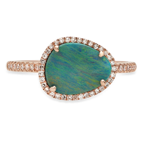 Oblong Opal with Diamond Halo Ring