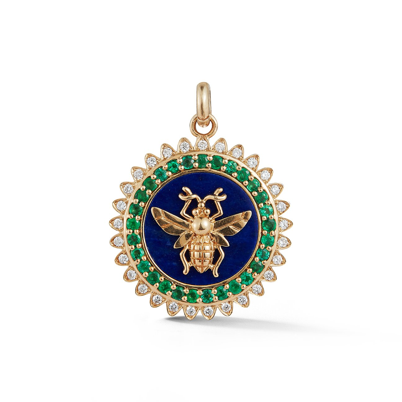 Lapis Bee Medallion Pendant