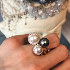Samira 13 diamond encrusted pearl vine ring