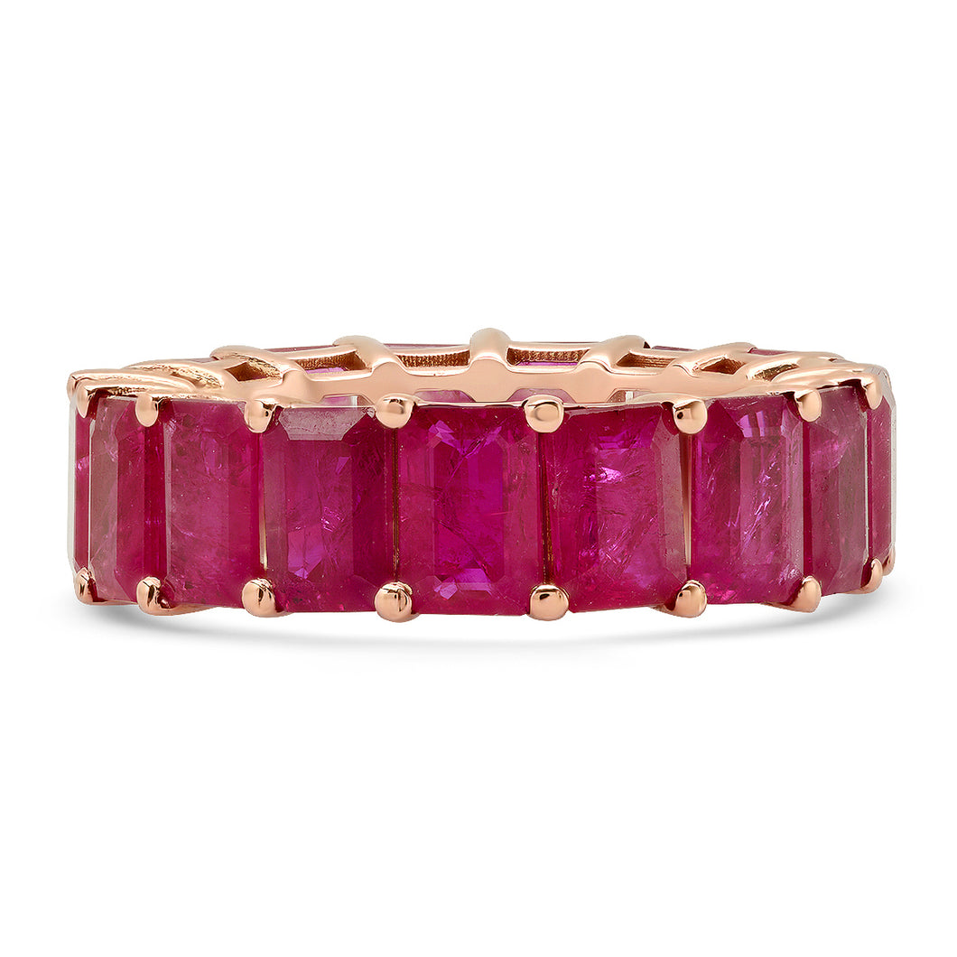 Jumbo Emerald Cut Ruby Eternity Band Ring